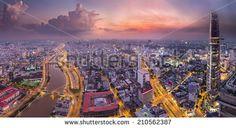 HO CHI MINH, VIETNAM - Aug Vo Van Kiet Highway and the bridge cross the Canal view from high at night, Ho Chi Minh city, Vietnam on August Ho Chi Minh city is the biggest city in Vietnam - stock photo Can Tho, Mekong Delta, Ha Long Bay, Modern City, Ho Chi Minh City, Da Nang, Hanoi, Paris Skyline, Vietnam