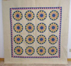 Dazzling 30s Sunburst Compass Antique QUILT Sawtooth 83 x 82 CRISP Pink Blue