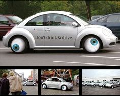The Ministry wanted to raise drunk-driving awareness. So, they created bloodshot googly-eye hub caps for a fleet of Beetles, which were then driven around alcohol-fueled public events. Pretty damn funny, especially for a government initiative. Guerilla Marketing, Street Marketing, Marketing And Advertising, Experiential Marketing, Marketing Communications, Marketing Ideas, Volkswagen New Beetle, Beetle Bug, Vw T5