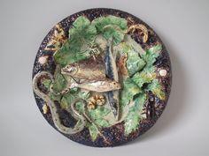 Barbizet Majolica Palissy fish, snake & lizard plate