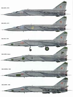 "Profiles of the MiG-25R ""Foxbat"" and its derivatives, including an example from the Libyan Arab Air Force (LAAF) and some two-seat MiG-25PU's."