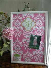 Pink Damask Magnetic Board
