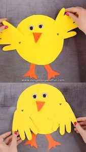 In this tutorial we will be showing you how to use your hands to make a hand print chick craft with movable wings. crafts videos Handprint Chick Craft for Kids Easter Art, Easter Crafts For Kids, Toddler Crafts, Preschool Crafts, Diy For Kids, Craft Kids, Preschool Kindergarten, Kids Fun, Spring Crafts