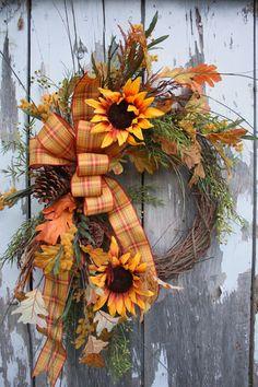 Fall Wreath, Plaid Ribbon, Sunflowers, Greenery, Pinecones, Oak leaves, Twigs