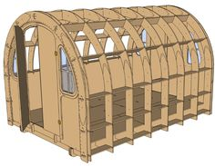 Shelter - a prefab solution to homelessness, but I like the design. PLANS ARE FREE under Creative Commons Agreement. Reminds me of old military quonset huts. Shed Plans, House Plans, Solutions To Homelessness, Wood Projects, Woodworking Projects, Camping Survival, Tiny House, Architecture Design, House Design