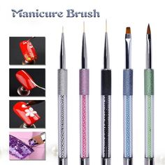 1Pc Acrylic Nail Brush Nail Liner Dotting Pen Crystal UV Gel Nail Art Painting Drawing Line Brush Manicure Tool Y2 #Affiliate