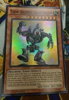 x1 SUPER RARE Toon Ancient Gear Golem Yugioh Monster Card DRL2-EN022 1st ed NM english
