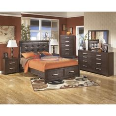 Signature Design Aleydis B165 6 pc Queen Upholstered Storage Bedroom Set