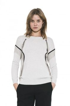 Xena Pullover by one grey day- Xena represents the warrior princess she is named after. Strong style lines etched in black tape and metal chain fringe give her both movement and attitude. Warrior Princess, Metal Chain, Attitude, Pullover, Fall 2015, Grey, Tape, Shirts, Strong