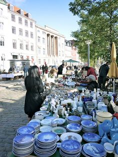 A flea market in Copenhagen,Denmark, selling Royal Copenhagen plates. Visit Denmark, Denmark Travel, Royal Copenhagen, Copenhagen Denmark, Places To Travel, Places To See, Odense, Legoland, Travel Tips