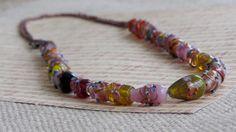 Copper Lampwork Necklace by AmarisJewelry on Etsy