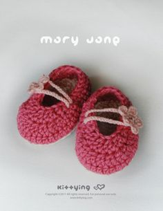 Crochet Pattern  Pinky Red Mary Jane Baby Booties Kittying Crochet Pattern by kittying.com from mulu.us