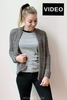 Make this simple and easy crochet cardigan with my free pattern on . This cardigan is made with chains and double crochet stitches. Pattern is available in size Free crochet pattern on (including video tutorial). Double Crochet, Easy Crochet, Free Crochet, Knit Crochet, Crochet Sweaters, Knit Cowl, Crochet Tops, Crochet Granny, Crochet Cardigan Pattern