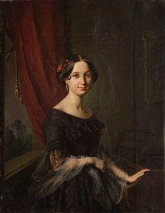 Jozef Simmler (1823 - 1868) Portrait of Jozefa Slugocka, 1847