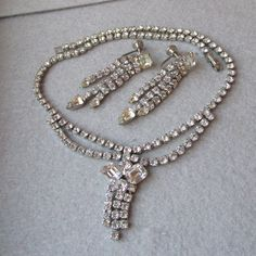 Exceptional 1950's Dripping Rhinestones Festoon Necklace & Earrings Set, Vintage Demi Parure