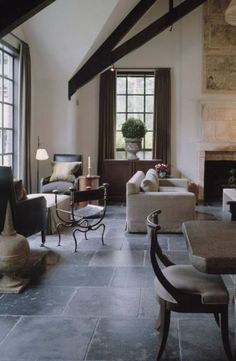 An alternative flooring for kitchen/dining/family/living. Very elegant, classic, comfortable and pretty with rugs atop.