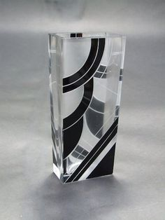 Vase by Palda  Geometric glass vase by Karel Palda with patterning in black enamel. It measures 7 inches high by 3 wide. Condition is excellent.   Ref: G565 . . . £195