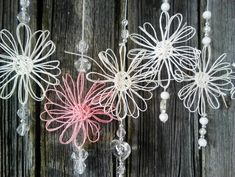 Paperinarukukka mobile Sun Catcher, Handicraft, Paper Art, Diy And Crafts, Crafty, Knitting, Crochet, Flowers, Christmas