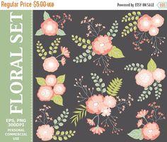 70% OFF SALE Digital Floral Clip Art  Pink Coral Flowers