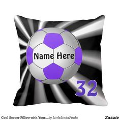 Custom Soccer Pillow with Your NAME and NUMBER or Monogrammed Soccer Pillow in cool burst of black and white and soccer ball with purple accents. CLICK: http://www.zazzle.com/cool_soccer_pillow_with_your_name_jersey_number-189253147663474579?rf=238147997806552929  I can create matching and coordinating Soccer bedroom decor, Soccer Room or Team COLORS or change design. MORE HERE: http://www.zazzle.com/littlelindapinda/gifts?cg=196537463016984477&rf=238147997806552929 CONTACT Linda on pillow…