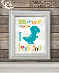 Dinosaur Nursery Art Print for Baby Boy and Girl Room Decor and Nursery Wall Decorations Pick Colors - Customizable Dino Print (1) One 8x10