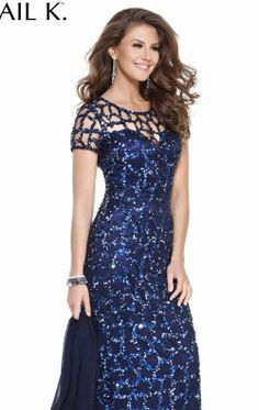 Sequined Short Sleeved Gown by Shail K Social Collection 3652
