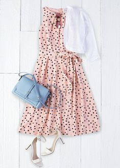 Easter Sunday best: Start with a gorgeous fit-and-flare dress from ELLE featuring a scattered dot print and self-tie sash. Add a while bolero and strappy sandals (weather permitting!). Plus a crossbody bag in dusty blue picks up color from the dress. Get