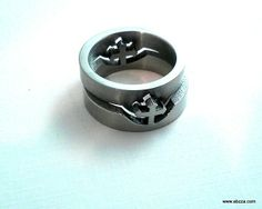 Two Tone Stainless Steel Cut Out Cross Ring sz.8. Starting at $3 on Tophatter.com!