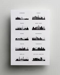 Various city skylines printed on a clean white background. Cities include London, Dubai, Paris, New York, Rome, Shanghai, Tokyo, Toronto, Berlin and Rio de Janeiro.