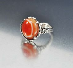 Antique Banded Agate Sterling Silver Victorian Ring  Vintage Jewelry