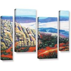 ArtWall Gene Foust Rocky Mountain Living 4-Piece Gallery-Wrapped Canvas Staggered Set, Size: 36 x 54, Brown
