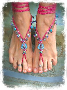 Hot PINK cocktail BAREFOOT SANDALS for a Fairy Blue Flower Summer jewelry bare feet Foot thongs blue and pink crochet jewelry made to order via Etsy