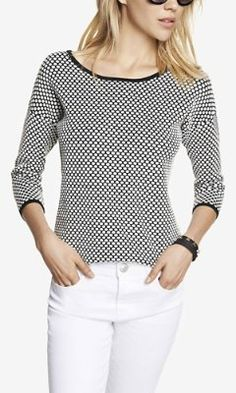 ABBREVIATED HIGH LOW HEM DOT JACQUARD SWEATER from EXPRESS
