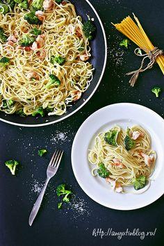 Spaghetti with prawns and broccoli \ Спагетти с креветками и блокколи. #food, #tasty, #inspiration, #broccoli, #prawns, #spaghetti