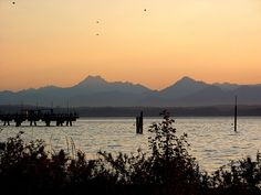 Edmonds, WA : Edmonds fishing pier on Puget Sound, with Olympic Mountains in background, in August, 2004.