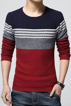 Round Neck Color Block Spliced Design Long Sleeve Knitting Sweater For Men