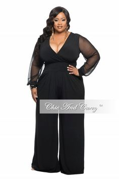 New Plus Size Jumpsuit with Sheer Long Sleeves and Wide Leg in Black