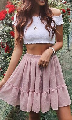 Mini Skirt Cute Pink Casual Polka Dot Ruffle Summer A Line High Waist Pleated Short Skirt Floral Print Beach Skirt Cute Summer Outfits, Spring Outfits, Trendy Outfits, Cute Summer Clothes, Stylish Clothes, Winter Outfits, Cute Skirts, Mini Skirts, Cute Outfits With Skirts