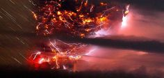 Lightning and Lava - Francisco Negroni/AgenciaUno/AP Volcanic lightning is seen over the Puyehue volcano, over 500 miles south of Santiago, Chile. Volcano Lightning, Lightning Cloud, Lightning Photos, Lightning Strikes, Lightning Storms, Volcano Wallpaper, Storm Wallpaper, Wallpaper Space, Amaterasu