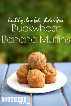 Buckwheat Banana Muffin Recipe - this healthy, low fat and gluten free muffin recipe has become a favourite within our family (even with the gluten eaters! It even has sugar free options as well! Gluten Free Muffins, Gluten Free Sweets, Healthy Muffins, Gluten Free Baking, Healthy Baking, Healthy Snacks, Healthy Cake, Gluten Free Chocolate, Buckwheat Muffins