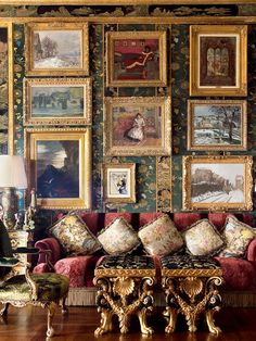 Every room in Ann Getty's Pacific Heights residence testifies to her sophistication and connoisseurship. In the living room, for example, paintings by Gustave Moreau, Pierre-Auguste Renoir, and Camille Pissarro, depicting interiors and landscapes, are complemented by expressive gilt-wood furniture. Photo by Lisa Romerein.