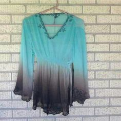 BOHO OMBRE TUNIC FLARED ARMS AND HEM TURQUOISE ON TOP, BROWN ON BOTTOM V NECK COLLAR 100% POLYESTER  **VERY BEAUTIFUL TO WEAR** **EXCELLENT CONDITION** Tops Tunics