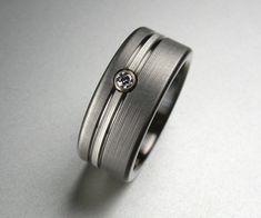 Titanium Diamond Wedding Ring Comfort Fit by spexton on Etsy