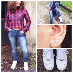 #Hipster #Tartan #Jacket and #Coat : #Camaieu #Chemise #Shirt : #Pimkie #Pants / #Jeans : #VeroModa #Shoes : #Nike #AirForce1  #Earring #Earrings : #Junk