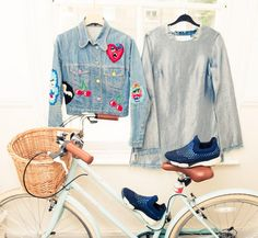 Inside Fashion Stylist Lola Chatterton's Closet: Embroidered and Patched Denim Jacket by Meadham Kirchhoff, Chambray Frayed Shirt by Marques'Almeida, Blue Sneakers by Pinko, Bicycle with Basket | coveteur.com