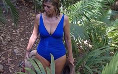 I'm A Celebrity's Kate Garraway and her camp mates Nadine Coyle and Jacqueline Jossa sent temperatures during Wednesday's episode of the show. Blue Swimsuit, Pink Bikini, Nadine Coyle, Jacqueline Jossa, Kate Garraway, Holly Willoughby, Tv Presenters, British Actresses, Celebs