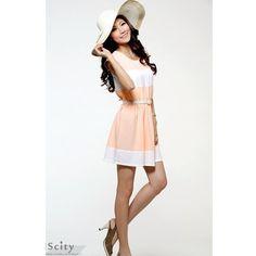 Green Ladies Summer Round Neck Short Sleeve Chiffon Dress One Size... ($15) via Polyvore