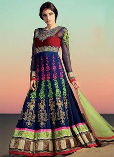 Blue #Net Floor Length #Anarkali #Suit