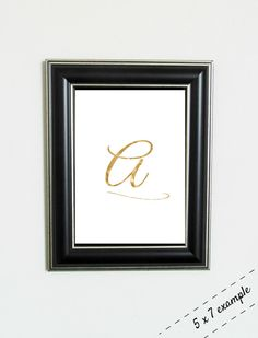 "Gold Bokeh Cursive Initial Monogram 5x7"" Print - Simple Gold Foil Look Initial Print by ShopStreetlights"