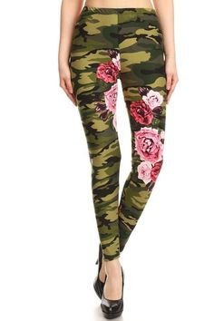 17e78fe15ef38 Green Floral Camo Print Full Length One Size Leggings
